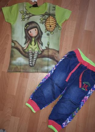 Модный комплект стильная футболка и комбиниров бриджи венгрия