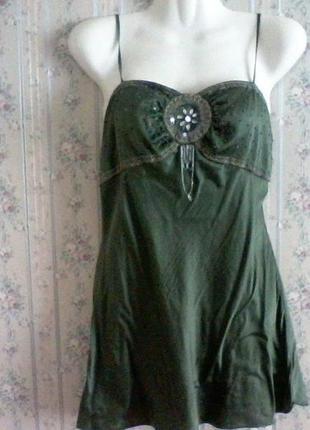 Шелковая майка, шелк, в бельевом стиле,  от new look, разм. 44