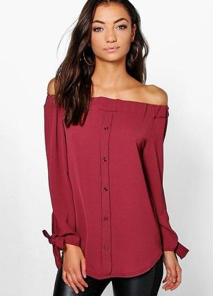 🌿 блуза с приспущенными плечами boohoo
