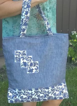 """Еко сумка handmade""""квадрати""""."""
