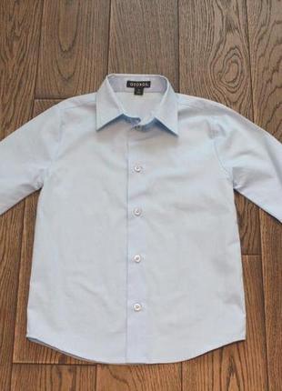Новая рубашка небесно-голубого цвета george для мальчика р. 6-7 лет2 фото
