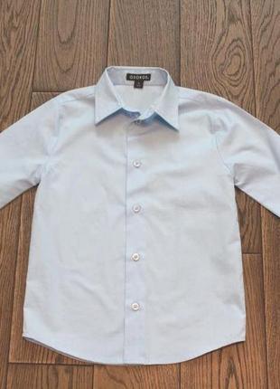 Новая рубашка небесно-голубого цвета george для мальчика р. 6-7 лет3 фото