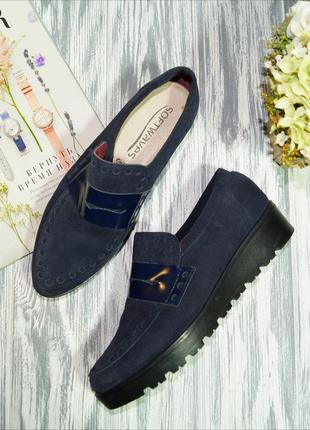 Riva. испания. замша. классные фирменные туфли, лоферы на средней платформе