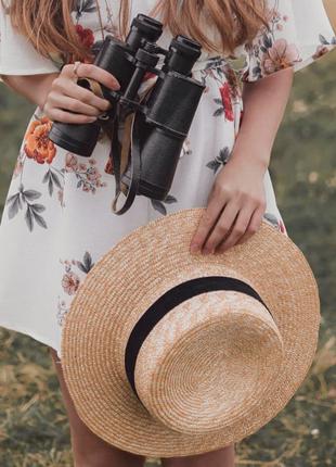 Соломенная шляпа канотье с широкими полями/солом'яний капелюх канотьє