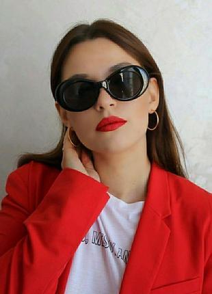 Скидка!новые,стильные,модные,тренд,солнцезащитные очки,овал,ретро,черные белые лисички