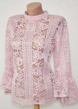 Шикарная кружевная блуза с рукавами клеш primark, l