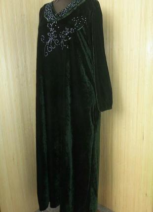 Зеоеное велюрлвое платье2 фото
