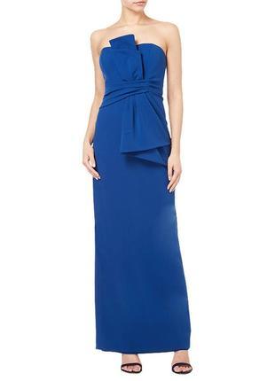 Дизайнерское вечернее платье бандо в пол andriana papell, выпускное платье