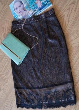 Шёлковая юбка от  zara  с мягкого кружева2 фото