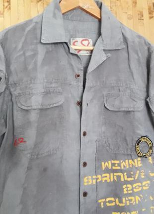 Крутая дизайнерская  льняная рубашка бойфренд надписи наклейки бренд esl