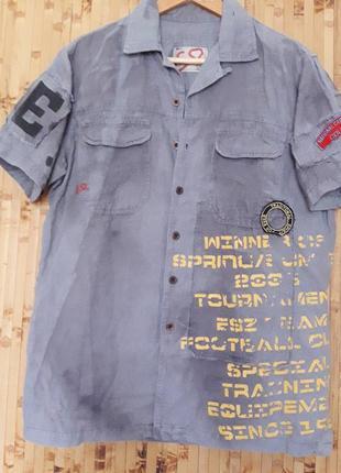 Крутая дизайнерская  льняная рубашка бойфренд надписи наклейки бренд esl2 фото