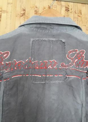 Крутая дизайнерская  льняная рубашка бойфренд надписи наклейки бренд esl3 фото