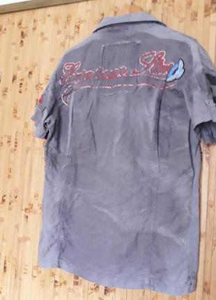 Крутая дизайнерская  льняная рубашка бойфренд надписи наклейки бренд esl4 фото
