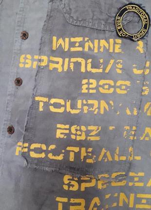 Крутая дизайнерская  льняная рубашка бойфренд надписи наклейки бренд esl5 фото