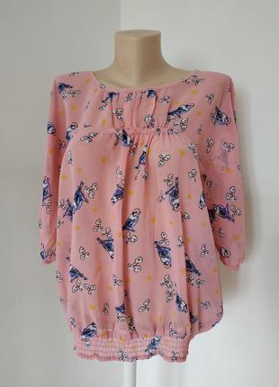 Распродажа воздушная розовая блуза с принтом