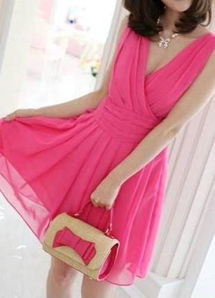 Розовое,легкое,,коротенькое,летнее платье