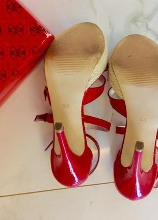 Лаковые босоножки эспадрильи на высоком каблуке, размер 36,5, 23,5 см4 фото