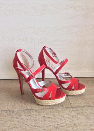 Лаковые босоножки эспадрильи на высоком каблуке, размер 36,5, 23,5 см7 фото