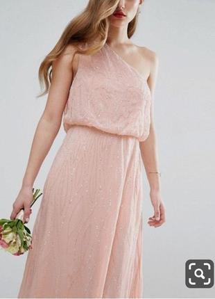 Длинное пудровое розовое платье на одно плечо с бисером, на свадьбу,  выпускной