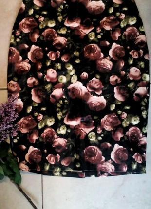Шикарная юбка из еко кожы в цветы