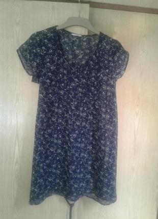 Синее крепдешиновое платье - туника, xl.