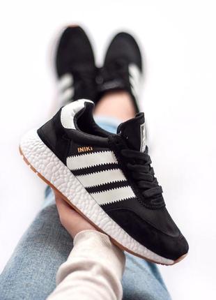 Шикарные женские кроссовки adidas iniki black