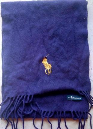 Синий флисовый шарф ralph lauren