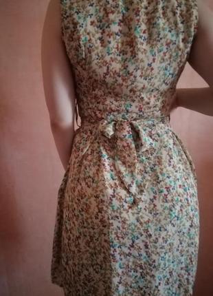 Платье мелкий цветочный принт с поясом