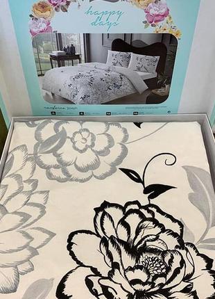 Постіль біла квіти постельное белье tac ранфорс - joseph серый евро