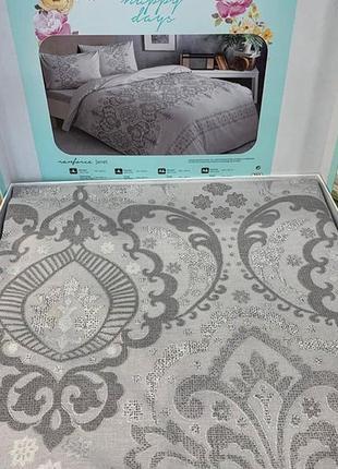 Постіль сіра постельное белье tac ранфорс - janet серый евро