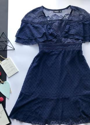 e372c0341c3 Роскошьное синие кружевное платье с рюшами   платья с рюшами и декольте