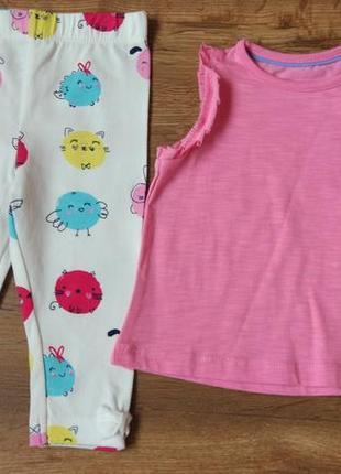 Комплект набор туника футболка и лосины на 3-9 месяцев