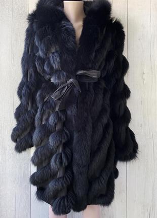 Куртка з хутром лисиці,пальто двохстороннє leonardo