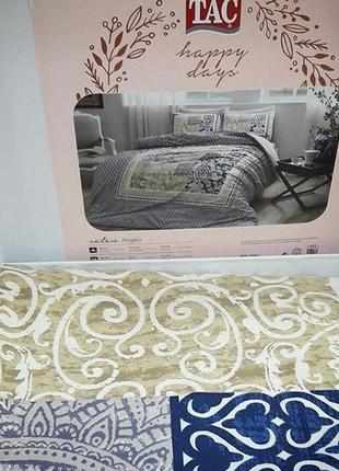 Постельное белье tac сатин - angelo синий евро комплект
