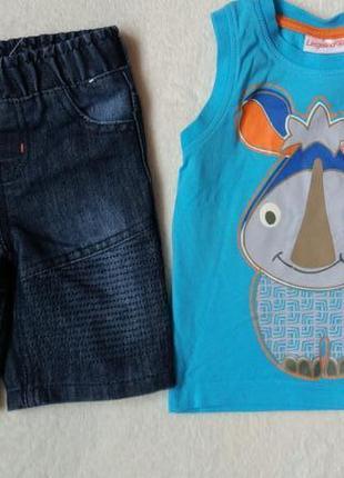 Комплект набор футболка майка и джинсовые шорты бриджи на 12-18 месяцев