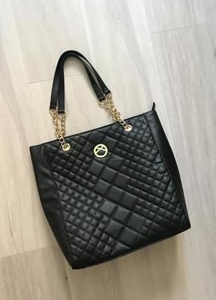 Базовая новая черная сумка шоппер на плечо базова чорна двостороння сумка primark