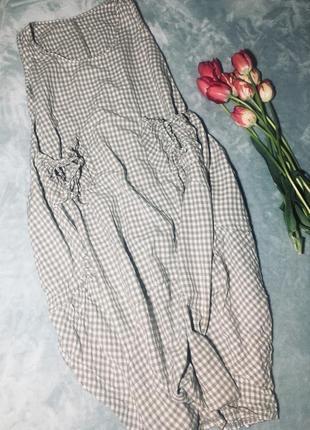 Платье для беременных, обьёмное платье  с карманами в клетку италия1 фото