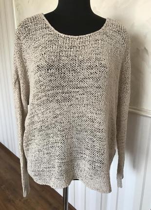 Стильный свитерок кольчужной вязки с шифоновой спинкой, размер 50-52-54.