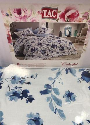 Постельное белье тас сатин digital - farida синий семейный комплект