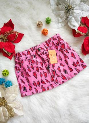 Нова джинсова рожева юбка 100% коттон