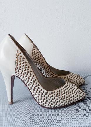 Кожаные бежевые туфли на весну и лето, 100% натуральная кожа