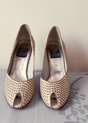 Кожаные бежевые туфли на весну и лето, 100% натуральная кожа3 фото