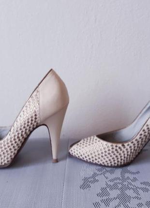 Кожаные бежевые туфли на весну и лето, 100% натуральная кожа4 фото