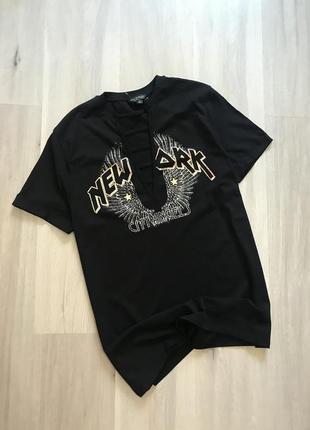 cd91d7e8546 Крутое платье-футба нове плаття футболка чорна з принтом в рок стилі з  переплетами