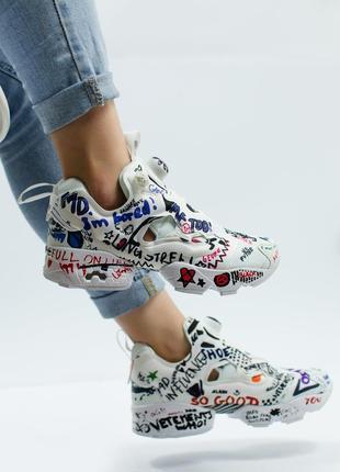 36, 37, 38, 39р женские кроссовки reebok insta pump белые, надписи