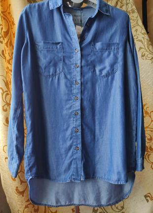 Удлинненая джинсовая рубашка