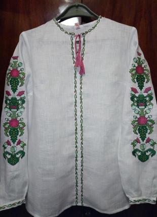 Льняная вышиванка с яркой вышивкой на рукавах, s, m2 фото