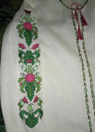 Льняная вышиванка с яркой вышивкой на рукавах, s, m3 фото