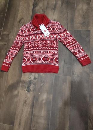 Красивый красный свитер на мальчика 8-10 лет от h&m. новый!