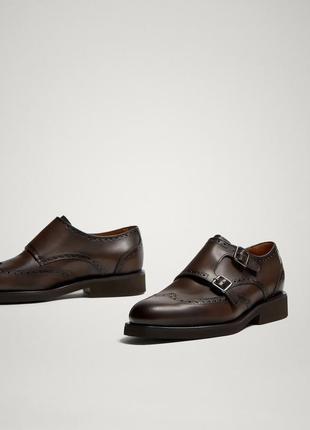 Кожаные коричневые туфли-монки massimo dutti